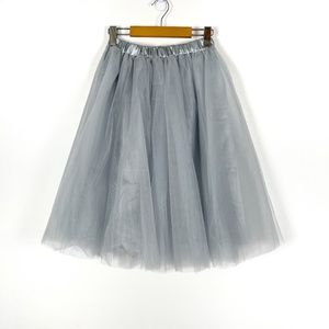Silver Tulle Midi Party Skirt